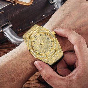*SALE* 18K Gold Iced Out Luxury Design Watch